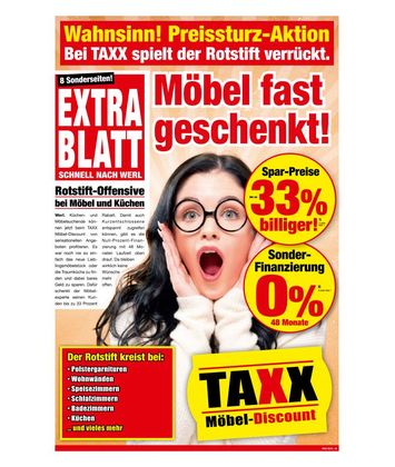 TAXX Möbeldiscount: Möbel fast geschenkt!
